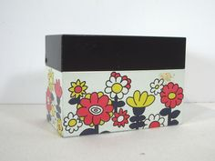 Ohio Art Tin Litho File Box Penworthy Index Dividers White Mod Flowers Recipes #OhioArt