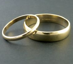 Gold Wedding Band Ring Set Handmade  Free by someplaceelsewhere, $750.00