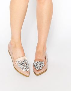 embellished pointed flat shoes