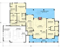 Rustic Farmhouse with Optional Finished Lower Level and Bonus - 64466SC floor plan - Main Level