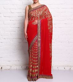 Red Embroidered Georgette Saree #ethnicwear #saree #georgette #embroidered #sequined #summer #indianroots