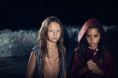 www.frostedproductions.com | #fashion #photographer #editorial #photography #ocean #waves #beautiful #child #models #red #hood #dark #night #sky