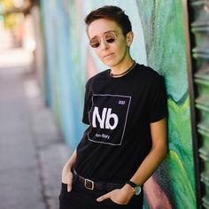 Non-Binary Tee - Autostraddle - Hello Merch Cute Summer Outfits, Cool Outfits, Fashion Outfits, Aesthetic Fashion, Aesthetic Clothes, Non Binary People, Genderqueer, Androgynous Fashion, Tomboys