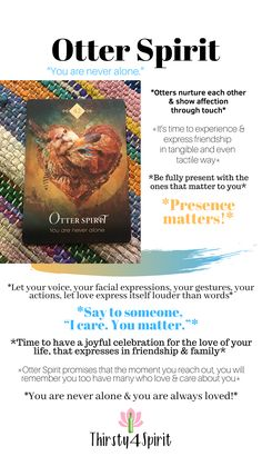The Otter reminds us to be present and to show the ones around us that we LOVE THEM. You are always loved. Want you're own reading, click the picture! Spirit Animal Totem, Animal Spirit Guides, Angel Guidance, Spiritual Guidance, Tarot Card Spreads, Native American Symbols, Switch Words, Power Animal, Angel Cards