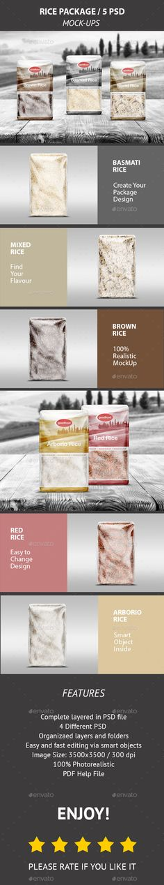 Rice Package MockUp / 5 PSD — Photoshop PSD #brand #sushi • Available here → https://graphicriver.net/item/rice-package-mockup-5-psd/17968534?ref=pxcr