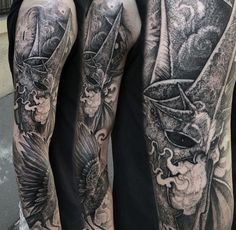 Mens Dotwork Lord Of The Rings Full Sleeve Tattoos