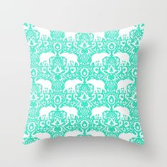 damask, elephant, animals, pattern...
