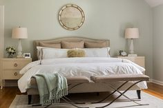 Colette Bed, Transitional, bedroom, Farrow and Ball Pale Powder, Erin Gates Design Farrow And Ball Bedroom, Taupe Bedding, Bathroom Paint Colors, Paint Colours, Soft Colors, Country Style Homes, Modern Country, Transitional Bedroom, Elements Of Style