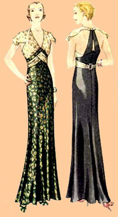 "E30-6983 1932 Evening Gown    5-piece pattern in sizes 14 to 42 (32"" to 42"" bust, 26"" to 36"" waist, 35"" to 45"" hip)    Original pattern size was 16.    I have rated this pattern advanced as one may want to individually fit the back skirt with darts (not included on the pattern)."