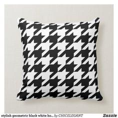 stylish geometric black white houndstooth pattern throw pillow