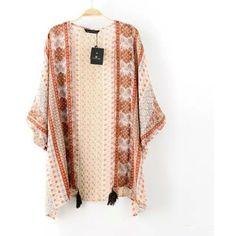 Kimono Tasseled Printed Cardigan ($22) ❤ liked on Polyvore featuring tops, cardigans, multi color cardigan, cardigan top, tassel kimono, tassel cardigan and kimono top
