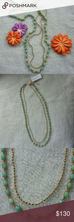 "Kate Spade aqua stone double layer necklace Aqua and light green stones make up one strand and the other strand is a gold tone chain.  Length is about 27"" for the shorter layer and 28"" for the longer one, with a 4"" extender. Comes with dust bag.   No trades.  Save even more with a bundle discount! kate spade Jewelry Necklaces"