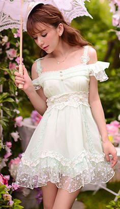 Sweet Japanese minty green chiffon ruffled dress