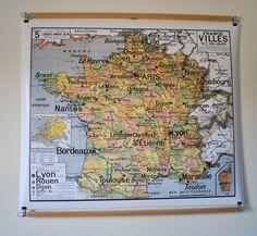 Reproduction d'ancienne carte d'école N 5 France Villes par JeLiDee