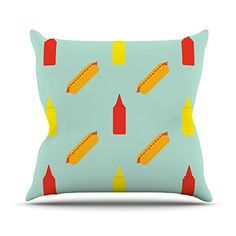 KESS InHouse WW1002AOP03 18 x 18-Inch 'Will Wild Hot Dog Pattern Food' Outdoor Throw Cushion - Multi-Colour >>> Want additional info? Click on the image. #GardenFurnitureandAccessories