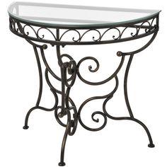 Half Table For Hallway iron half moon hall table with glass top, $100 !!   furniture