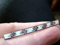 Lovely Antique Victorian ENAMEL Hand Painted Violets Pin, C-Clasp | eBay