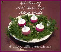 kid-friendly-diy-washi-tape-advent-wreat Kids Advent Wreath, Advent Wreath Prayers, Advent For Kids, Christmas Crafts For Kids, Advent Ideas, Christmas Ideas, Christmas Tables, Reindeer Christmas, Nordic Christmas