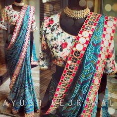 BOHO  This stunning bandhini mirror work saree satisfies the gypsy within me.