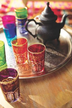 We traveled to North Africa to find our Paisley Moroccan Tea Glasses, authentic Moroccan serving glasses featuring an eye-catching design in six bright hues. Tea Glasses, Tea Tray, Moroccan Style, Turkish Style, Moroccan Design, World Market, Moscow Mule Mugs, Tea Cups, Deserts