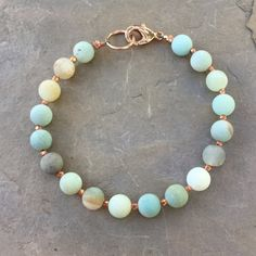 Amazonite Bracelet, Men's Unisex Bracelet, choose copper or sterling silver, choose your size.