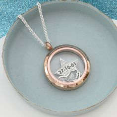 24ct Rose gold Plated Floating Charm Locket