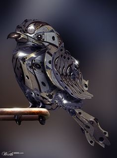 goodnightmorticia:clockwork sparrow  This sweet little metal guy makes me think of Bubo, the mechanical owl from Clash of the Titans. :)