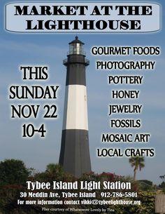November Market at the Tybee Lighthouse Tybee Island, Island Lighting, Mosaic Art, Savannah Chat, House Tours, Lighthouse, Georgia, November, Coast