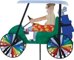 Man Driving Golf Cart Wind Spinner for any Lawn or Garden.  Buy it @ ReadyGolf.com