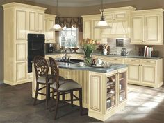 distressed cream kitchen   Kitchen idea #3: distressed cream cabinets, this has tile but I would ...