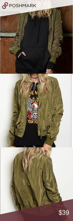 """Army Olive Bomber Jacket This cool fun and edgy long sleeve oversized bomber jacket features zipper closures and zipper detailed pockets, perfect item to add to any outfit. L: 23"""" B: 36"""" W: 36""""; 100% POLYESTER Jackets & Coats"""