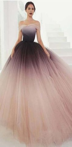 Gradient Off Shoulder Tulle Elegant Prom Gown ca0a8b492e70
