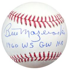 Bill Mazeroski Autographed MLB Baseball 1960 WS GW HR PSA/DNA . $79.00. This is an Official Major League Baseball that has been signed by Bill Mazeroski. The autograph has been certified authentic by PSA/DNA and comes with their sticker and matching certificate. Pittsburgh Pirates, Autographed Baseballs, Gw, Major League, Certificate, Sticker, Sports, Outdoors, Shop