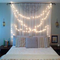 zen-bedroom-string-art-lights - Home Decorating Trends - Homedit Stylish Bedroom, Cozy Bedroom, Modern Bedroom, Zen Bedrooms, Zen Bedroom Decor, Bedroom Romantic, Sala Zen, Bedroom Decorating Tips, Bedroom Ideas