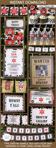 Cowboy Party Invitations & Decorations full Printable