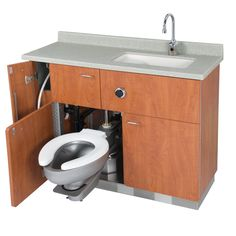 Swing out toilet - made for hospitals . . . would this work for trailers? sink, hideable toilet, and storage - Model LC750