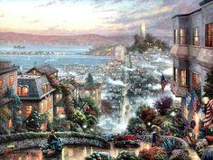 Lombard Street, San Francisco F+ - scenery, lombard, usa, painting, thomas kinkade, art, kinkade, artwork, cityscape, san francisco, california