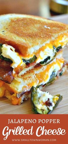 30 reviews · 40 minutes · Serves 2 · Jalapeno Popper Grilled Cheese is the ultimate comfort food perfect for dinner on a cold winter night! This sandwich recipe has a delectable combination of baked cream cheese filled jalapenos, gooey cheddar, Monterey Jack cheese, and crispy bacon. Save this easy recipe for later! I Love Food, Good Food, Yummy Food, Healthy Food, Healthy Grilling Recipes, Gourmet Foods, Dinner Healthy, Healthy Smoothies, Gourmet Sandwiches