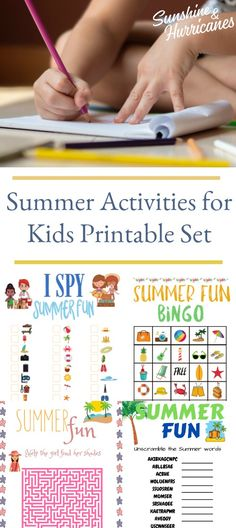 Summer Activities for Kids Printable includes a BINGO printable, ISpy Printable, Word Search Printable, Word Scramble Printable and a Printable Kids Maze as well as the answer keys. #KidsActivities #KidsPrintables #SummerPrintables #KidsActivitiesPrintables #BingoPrintable #ISpyPrintable #WordScramblePrintable #MazePrintable #WordSearchPrintable #Kids #Summer #SummerFun #SummerIdeas #SummerActivities Kids Travel Activities, Printable Activities For Kids, Summer Activities For Kids, Parenting Articles, Parenting Teens, Parenting Hacks, Summer Words, Mazes For Kids, Cool School Supplies