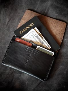 Black and Seahawk Black All Leather Passport Wallet Travel Holder Bifold Brown Leather Travel Accessory Wallet for Men and Women Natural Field Note Pad Carry