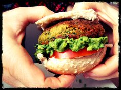 Vegan chick pea burger and avocado and tahini mayo