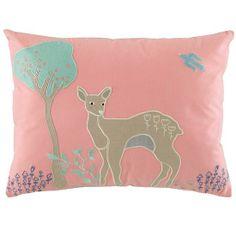 The Land of Nod | Kids Pillows: Pink Deer Throw Pillow in Throw Pillows