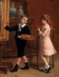 The young artist by Albert-Roosenboom (belgian) Victorian Paintings, Renaissance Paintings, Detective Conan Wallpapers, 1870s Fashion, Alice, Beauty In Art, Vintage Children, Art Children, Artist At Work