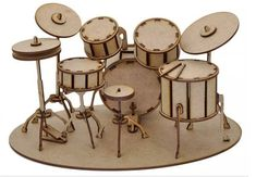 Drum set puzzle musical instruments Vector plan of the CNC wood, wooden, vector graphics,laser,DX Woodworking Jigs, Woodworking Projects, Woodworking Classes, Flexible Plywood, Laser Vision, Drummer Gifts, Laser Cutter Ideas, Cardboard Sculpture, Laser Art