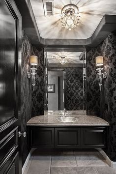 Top Amazing Modern Gothic Interior Design Ideas and Decor Picture 37 - Awesome Indoor & Outdoor Gothic Interior, Gothic Home Decor, Interior And Exterior, Gothic Bathroom Decor, Steampunk Bathroom, Black Powder Room, Powder Rooms, Powder Room Lighting, Bathroom Lighting