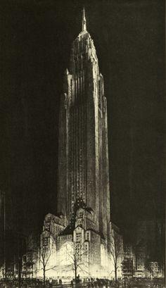 Another fantastical Hugh Ferris-imagined skyscraper