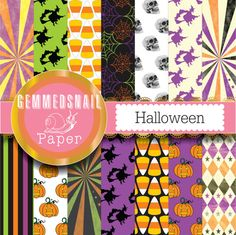 Halloween digital paper, 'Halloween' backgrounds and patterns for your scary halloween party! x 14 Halloween scrapbook paper