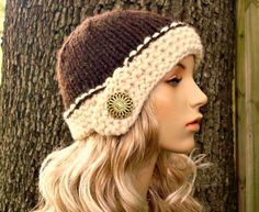 Hand Knit Hat Womens Hat - Cloche Hat in Wood Brown and Cream - Winter Fashion Winter Accessories Chunky Knit. $40.00, via Etsy.