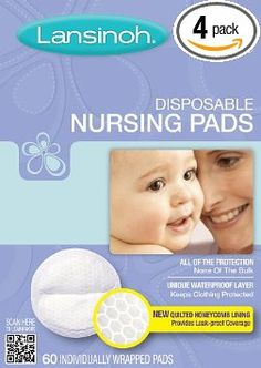 Lansinoh 20265 Disposable Nursing Pads, 60-Count Boxes (Pack of 4):	$21.72