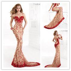 Unique Designer Mermaid Tarik Ediz Long Winter Dress Formal Evening Dresses Applique Prom Dresses 2014 Vestidos De 15  $156.00